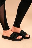 Kendall + Kylie Shiloh Black Leather Slide Sandals 2