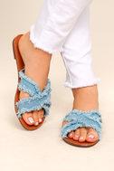 Cascara Blue Denim Slide Sandals 2