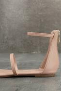 Lorelei Nude Ankle Strap Flat Sandals 7