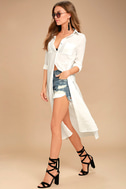 Sweet Cottage White Long Sleeve Cover-Up 1