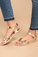 Glamorous Sunny Gold Espadrille Flat Sandals 2