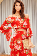 Naturally Charming Red Floral Print Off-the-Shoulder Crop Top 2