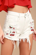Blank NYC Pin-Up High Rise White Embroidered Distressed Shorts 1