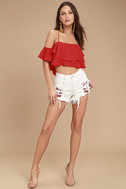 Blank NYC Pin-Up High Rise White Embroidered Distressed Shorts 3
