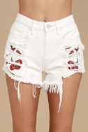 Blank NYC Pin-Up High Rise White Embroidered Distressed Shorts 5