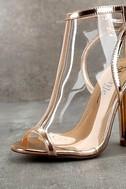 Hadya Rose Gold Lucite Peep-Toe Booties 6
