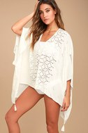 Sarita White Lace Kaftan Cover-Up 1