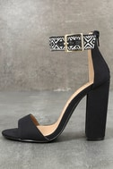 Cybele Black Embroidered Ankle Strap Heels 1