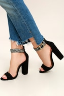 Cybele Black Embroidered Ankle Strap Heels 2