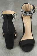 Cybele Black Embroidered Ankle Strap Heels 3