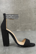 Cybele Black Embroidered Ankle Strap Heels 4