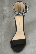 Cybele Black Embroidered Ankle Strap Heels 5