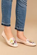 Arvida Nude Suede Embroidered Loafer Flats 2