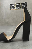 Cybele Black Embroidered Ankle Strap Heels 7