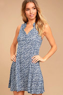 Show You Care Blue and White Floral Print Swing Dress 1