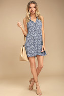 Show You Care Blue and White Floral Print Swing Dress 2