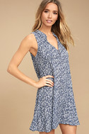 Show You Care Blue and White Floral Print Swing Dress 3