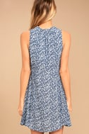 Show You Care Blue and White Floral Print Swing Dress 4