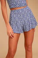 Lucy Love Racetrack Blue Ikat Print Shorts 1