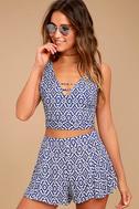 Lucy Love Racetrack Blue Ikat Print Shorts 2