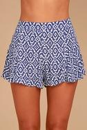 Lucy Love Racetrack Blue Ikat Print Shorts 4
