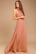 Elegant Rusty Rose Dress Maxi Dress Halter Dress