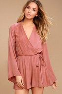 PPLA Pilar Rusty Rose Long Sleeve Romper 1