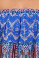 Harmonize Royal Blue Print Strapless Crop Top 6
