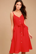 Free and Pier Red Belted Dress 1