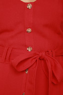 Free and Pier Red Belted Dress 6