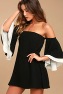 Dress for Success Black Off-the-Shoulder Mini Dress 1