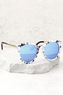 Hi There White and Blue Mirrored Sunglasses 2