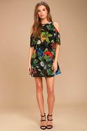 Oasis We Go Black Tropical Print Shift Dress 2