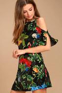 Oasis We Go Black Tropical Print Shift Dress 3