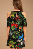 Oasis We Go Black Tropical Print Shift Dress 4