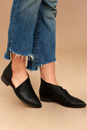 Free People Royale Black Leather D'Orsay Pointed Toe Booties 2