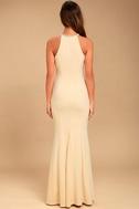 Girl in the Mirror Light Beige Beaded Maxi Dress 4