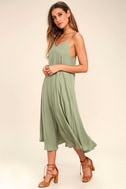 Lasting Memories Washed Olive Green Midi Dress 2
