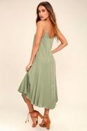 Lasting Memories Washed Olive Green Midi Dress 3