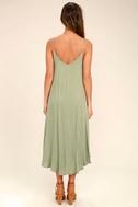 Lasting Memories Washed Olive Green Midi Dress 4