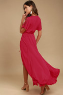 Much Obliged Red Wrap Maxi Dress 3