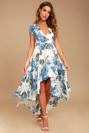 French Countryside White Floral Print High-Low Dress 1