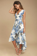 French Countryside White Floral Print High-Low Dress 3