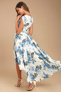 French Countryside White Floral Print High-Low Dress 4