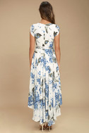 French Countryside White Floral Print High-Low Dress 5
