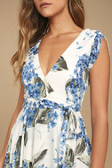 French Countryside White Floral Print High-Low Dress 6