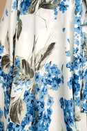 French Countryside White Floral Print High-Low Dress 7