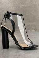 Hadya Black Lucite Peep-Toe Booties 4