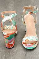 Chilali Nude Print Ankle Strap Heels 3