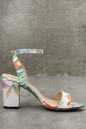 Chilali Nude Print Ankle Strap Heels 4